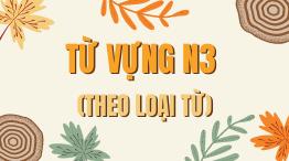 Từ vựng N3 theo loại từ